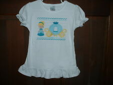 White Faux Smocked Cinderella Ruffle Shirt--Made To Order--Sizes 3T-8