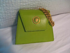 VINTAGE GIANNI VERSACE COUTURE GREEN LEATHER EVENING BAG &  WRISTLET BRACLET