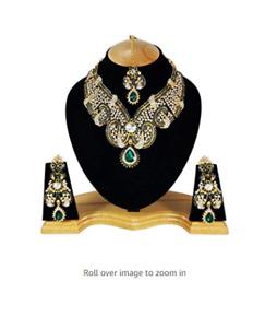Indian Cubic Zirconia Latest Wedding Designer Kundan Necklace Jewelry Set--