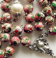 8mm Pink CLOISONNE + 10mm Pearl BEADS ROSARY CROSS NECKLACE CATHOLIC CRUCIFIX