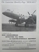 7/1946 PUB ELECTRO HYDRAULICS MESSIER HANDLEY PAGE HERMES AIRLINER ORIGINAL AD