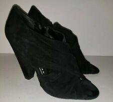 BCBG PARIS black Suede Criss Cross Peeptoe Zip Bootie Heels 6