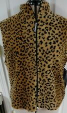 Black Mountain Vest Leopard Faux Fur Fully Lined Size Medium NWT