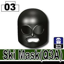 Black Ski Mask (W35) Army Balaclava compatible with toy brick minifigures Black