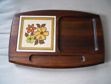 Vintage Wooden Cheese Cutting Board Tray with Ceramic Tile