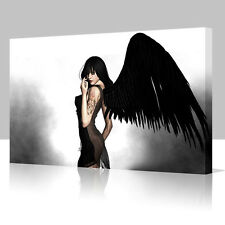 FANTASY GOTHIC TATTOOED ANGEL Wings Large 16x12 Inch Canvas Art Picture Print