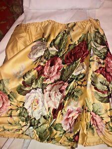 New Ralph Lauren Kathleen QUEEN Bedskirt Yellow Cottage Rose Sateen Dust Ruffle