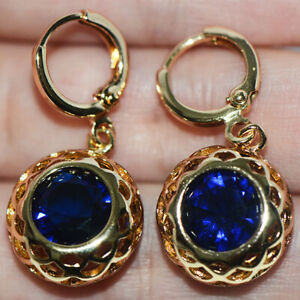 blue sapphire vintage gold filigree dangle earrings drop earrings for womens