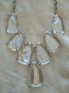 NWT Kendra Scott Harlow Necklace Suspended Ivory Mother of Pearl Rhodium