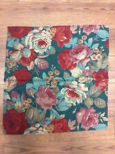 """FLORAL NAPKINS SET OF 8 TEAL GREEN RED TANS ROSES 20"""" SQUARE LARGE FLOWERS NICE!"""