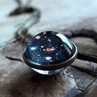 Glass Dome Double Sided Planet  Pendant Solar System Necklace Long Chain