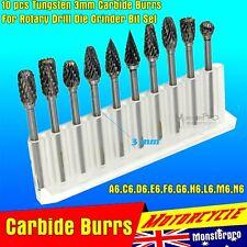 TUNGSTEN CARBIDE BURR Head Die Grinder Shank Cutter Engraving Solid 10PC SET 3mm