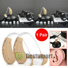 2 Digital Hearing Aids Kit Rechargeable Behind the Ear BTE Sound Voice Amplifier
