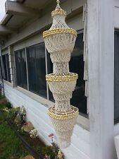 Vintage Sea Shell Hanging Chandelier beach decor garden pool home 4 FEET LONG