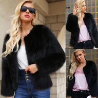 Women Lady Warm Faux Fur Coat Jacket Office Work Winter Solid Parka Outerwear S