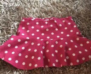 Justice Girls Skater Skirt Sz 14 Pink White Polka Dot Preowned