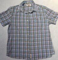 Mens Penguin Plaid Button Up Short Sleeve Shirt Classic Fit Sz Large