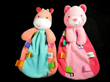2 Taggies Pink Kitty Cat & Giraffe Cow Lovey Security Blankets
