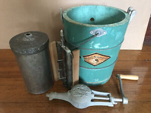 Vintage White Mountain Freezer Triple Motion Hand Crank Ice Cream Maker Pat 1923