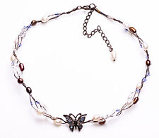 BUTTERFLY GUNMETAL WIRE CHOKER WITH BRONZE & PEARLY BEADS, ADJUSTS 7CM (ZX46)