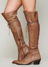 Women Rivet Lace Up Block Chunky Heel Knee High Riding Boot Shoes Punk Zip Roman