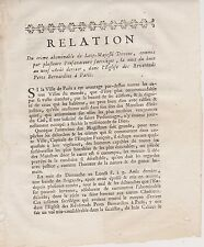Relation du crime de leze'majesté divine, des  Profanateurs Sacrilèges, 1751.