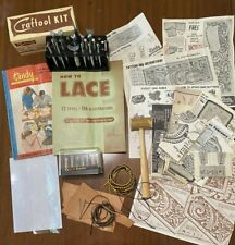 Lot-14 Craftool, 6 Misc tools + addt'l Leather Stamping Tools, Mallet, Patterns