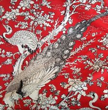 1 Metre Linen Weave Retro Exotic Bird Of Paradise & Peacock Curtain Fabric