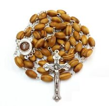 Olive Wood Soil Rosary Holy Jerusalem Beads Land Catholic Cross Prayer Necklace
