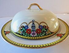 ANTIQUE NIPPON TOKI NORITAKE PORCELAIN BUTTER DISH CHERRY BLOSSOM MARK 1920'S