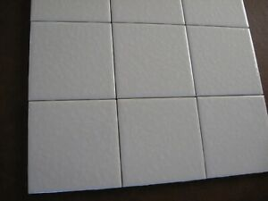 Unused Dal Tile Mayan White on White Field Tile 4-1/4 x 4-1/4 Bumpy Splatter