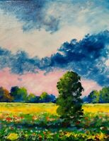 sunny meadows wildflowers Field clouds Landscape Oil Painting Impressionist