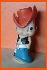 "Vintage Rubber Cowboy Sheriff  With  Gun and Badge Toy 6"" Squeak Yugoplastika"