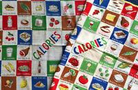 Lot 2 Calories of Foods Ladies Hanky Handkerchief Vintage Hand Rolled