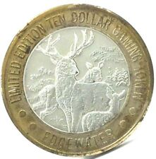 .999 FINE SILVER $10 EDGEWATER CASINO GAMING TOKEN WITH DEER