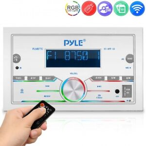 Pyle PLMR77U Marine Stereo Receiver Bluetooth Power Amplifier, Single DIN, AM/FM