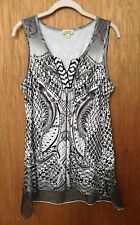 ONE WORLD V-Neck Sequin BLACK WHITE Sleeveless TUNIC TOP Hi-Lo Sheer Trim SIZE L