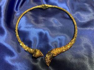 Betsey Johnson Large Fun Fox Hinged Necklace Jeweled