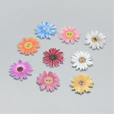 10 Pretty Wooden Daisy Flower Buttons, Mixed Colour, 25 x 24 x 2.5mm,