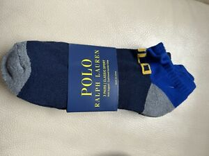Polo Ralph Lauren Low Cut Sock With Arch Support Cushioned Comfort Soles 3 Pack