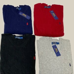 Men's Ralph Lauren Cable Knit Cotton Jumpers in Different Colours and Sizes