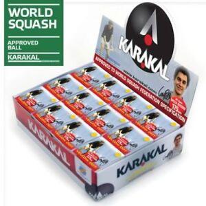 KARAKAL SQUASH BALLS 2 BALLS 3 BALLS 4 BALLS BOX OF 12 RED YELLOW DOT DOUBLE