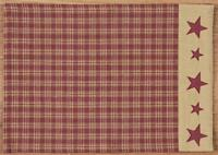 "4 FARMHOUSE EMBROIDERED STAR PLACEMATS DEEP RED TAN PLAID 13"" x 19"" Primitive"
