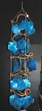 "48"" BLUE PLACUNAL SEA SHELL WIND CHIME CHANDELIER DECOR BEACH TROPICAL"