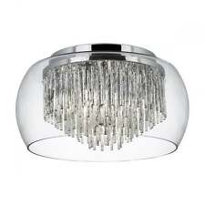 SEARCHLIGHT CURVA 4 LIGHT FLUSH FITTING IN CHROME WITH GLASS SHADE 4624-4CC