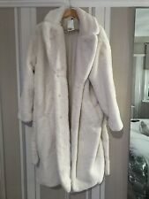 H&M TREND FAUX FUR  White  OVERSIZED SOFT COAT BLOGGER SOLD OUT BELTED Xs