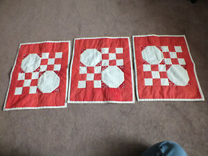 """Beautiful Handmade Quilted Place Mat Table Linen Set 3 Off White Lt Red 18.5x15"""""""