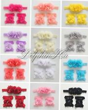 12Set/36PCS Baby Girl Kid Wholesale Lots Pearl Headwear Hairbow Band+Foot Flower