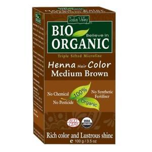2xIndus Valley Bio Organic Henna Hair Colour Medium Brown 100 gm Each FS