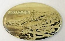 1933 CHICAGO WORLDS FAIR BIRD'S EYE VIEW Photo oval pocket mirror ^